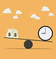 Balancing with money and time vector image