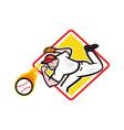 Baseball Pitcher Throwing Fire Ball Diamond vector image vector image