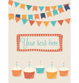Birthday card with party flags and cupcakes