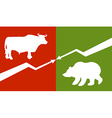 Bull and bear Traders at stock exchange Business vector image vector image