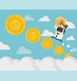 businessman up ladder coin steps coins vector image vector image