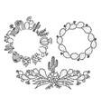 cactus floral frame set hand drawn outline vector image vector image