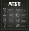 Chalkboard Menu Template of Food and Drinks vector image