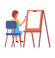 child sitting on chair and drawing aquarell vector image vector image