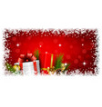 christmas gifts boxes and balls on red light vector image