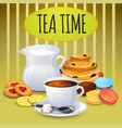 collection tea with milk pot and sweets vector image vector image