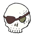 comic cartoon skull with eye patch vector image vector image