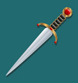 dagger inlaid blade handle gold and red stones vector image