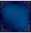 dark blue card with gold decor vector image vector image