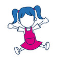 girl character schoolkid cheerful in blue and vector image