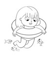 girl swimming with lifebuoy coloring book vector image vector image