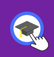 graduate hat icon academic degree concept hand vector image vector image