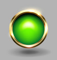 green shiny circle blank button with gold metallic vector image vector image