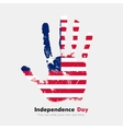 Handprint with the Flag of Liberia in grunge style vector image vector image