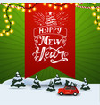 happy new year square green discount banner with vector image