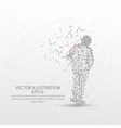 human back view form low poly wire frame on white vector image