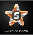 letter s logo symbol in the colorful star on black vector image vector image