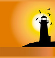 lighthouse sunset silhouettes 1 vector image vector image