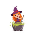 little red-haired girl witch preparing a potion in vector image vector image