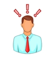 Man with exclamation marks icon cartoon style vector image