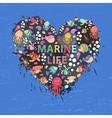 Marine life heart background vector image vector image