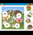 match pieces game with cartoon farm animals vector image vector image