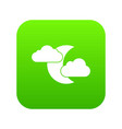 moon and clouds icon digital green vector image