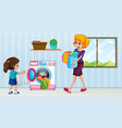 mother and daughter doing laundry vector image
