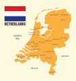 netherlands map with flag and english label vector image vector image