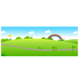 Path over the green landscape and rainbow vector image