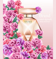 perfume bottle delicate roses fragrance realistic vector image
