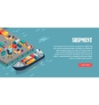 Port Warehouse Shipment Banner Cargo Containers vector image