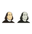 portrait of benjamin franklin the famous usa vector image
