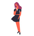positive female wearing dress holding phone device vector image