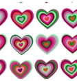 purple green striped heart on white background vector image