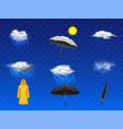 rainy weather forecast icons realistic set vector image vector image