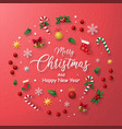 red background christmas decoration vector image vector image