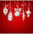 Red Christmas background with decorations vector image vector image