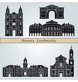 Rennes landmarks and monuments vector image vector image