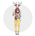 retro hipster animal deer with photo camera vector image vector image