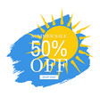 sale banner yellow blob isolated white background vector image
