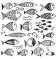 Set of hand drawn funny fishes in sketch style vector image vector image