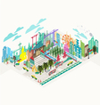 Set of isometric city social infographics vector image vector image