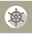Ship Helm Flat Icon vector image vector image