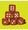 Six wood playing dice vector image