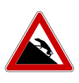 Slope warning sign for dogs vector image vector image