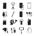 smartphone accessories icon set on white vector image vector image