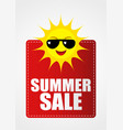 summer sale icon with funny sun cartoon vector image
