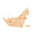 textured map of uae hand drawn ethno vector image vector image