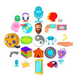 video attraction icons set cartoon style vector image